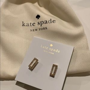 NWT - Kate Spade White Accent/Diamond Earrings